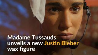 Bieber 'wet look' waxwork figure revealed in London