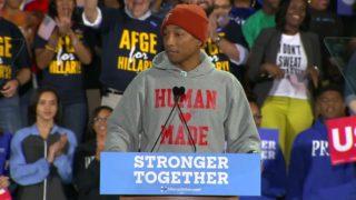 Bernie Sanders and singer Pharrell stump for Clinton