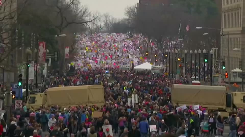 In challenge to Trump, women protesters swarm streets across U.S.