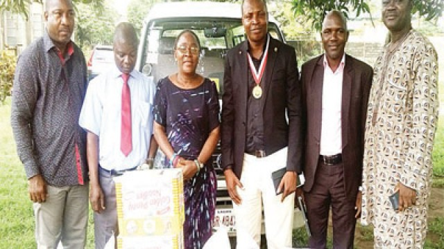 General Secretary, Nigeria Society of Engineers (NSE), Apapa branch, Sunny Ejeje (left); Principal, Federal Nigerian Society for the Blind, Oshodi, Sola Ogunsiji; Administrator, Ivy Bassey; Chairman, NSE, Apapa branch, Ola Taiwo; Vice Chairman, Garba Ombugadu and Immediate Past Chairman, Ibrahim Aledu at the event.