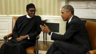 President Muhammadu Buhari and US President Barack Obama at a meeting at the White House