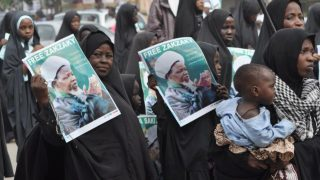 FILES - Shiites Muslim took to the street to protest and demanded the release of Shiite leader Ibraheem Zakzaky in Kano, Nigeria, Monday, Dec. 21, 2015.