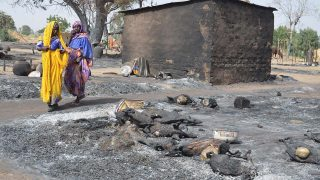 This file photo taken on February 06, 2016 at Mairi village outskirts of Maiduguri capital of northeast Borno State, shows young girls fleeing from Boko Haram Islamists walking past burnt livestock.   With the Islamists now on the run after a sustained military counter-offensive over the last year, business leaders believe trade should be at the forefront of the region's revival. Fears of raids or the aftermath of deadly attacks have left towns and villages deserted, forcing many in the largely agricultural region into camps for the internally displaced or host communities.  / AFP / STRINGER