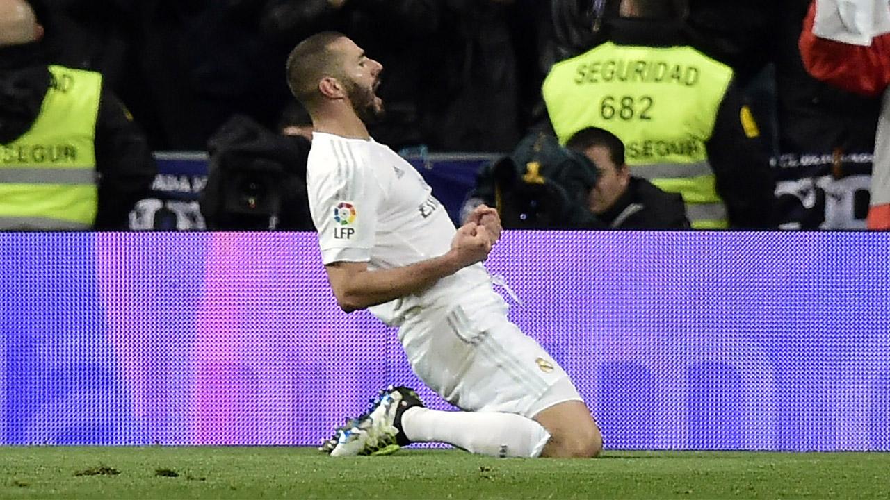 Real Madrid's French forward Karim Benzema  / AFP PHOTO / JAVIER SORIANO