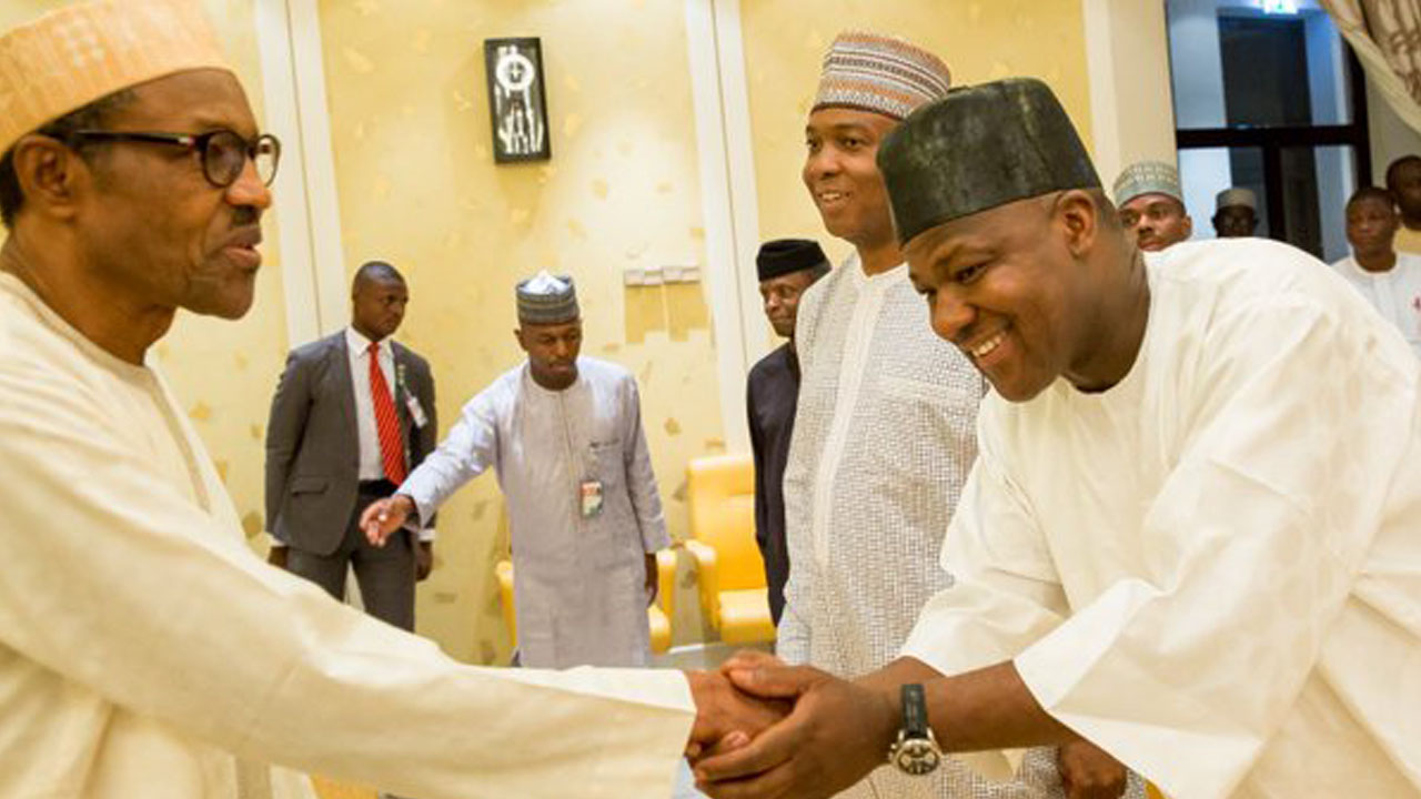 President Muhammadu Buhari welcoming Speaker, House of Representatives, Yakubu Dogara, and Senate President, Bukola Saraki during a meeting to end Budget impasse on April 26,2016 at the State House, Abuja. PHOTO: STATE HOUSE