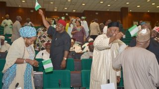 House of Representatives in a rowdy session over new fuel price at the National Assembly in Abuja …yesterday. PHOTO:  LADIDI LUCY ELUKPO