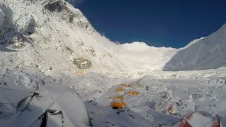 This photograph taken on May 8, 2016, shows a view of mountaineering equipment at Camp 2 on Mount Everest. An Indian mountaineer has died on Mount Everest and two of his teammates are missing, expedition organisers said May 23, 2016, as the death toll from the Himalayan climbing season rose to five. Subhash Pal reached the 8,848-metre (29,029-foot) summit on May 21, but collapsed while descending the Hillary Step ice wall and died the following day. He was the third to die on Everest in recent days, after an Australian and a Dutch climber succumbed to altitude sickness. Another two climbers have died on other peaks.  / AFP PHOTO / NIMA GYALZEN SHERPA