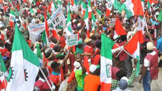 Members of Nigeria Labour congress (NLC) and Trade Union Congress (TUC) protesting in Abuja. PHOTO:  LADIDI LUCY ELUKPO