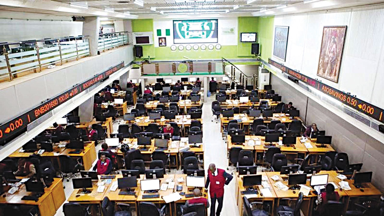 Brokers on the floor of Nigerian Stock Exchange in Lagos.