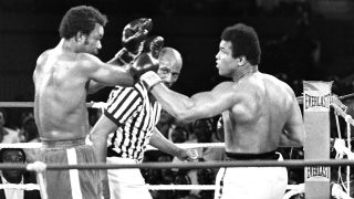 "(FILES) This file photo taken on October 30, 1974 shows the fight opposing former world heavyweight boxing champion the American Muhammad Ali (R) and his compatriot and titleholder George Foreman (L) in Kinshasa.  Ali won and got back his title. Boxing icon Muhammad Ali died on Friday, June 3, a family spokesman said in a statement. ""After a 32-year battle with Parkinson's disease, Muhammad Ali has passed away at the age of 74,"" spokesman Bob Gunnell said. / AFP PHOTO / -"