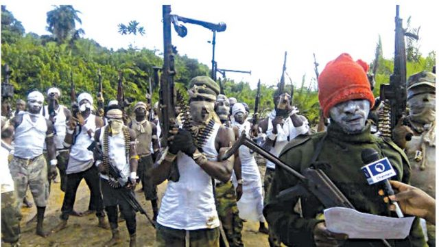 Members ofBakassi Strike Force (BSF) displaying sophisticated arms at the Esuk Mba Beach in Akpabuyo Local Government Area of Cross River State as they charged the Niger Delta Avengers (NDA) to drop arms and embrace peace.
