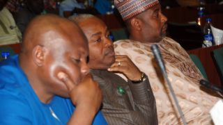 L-R- The three alleged sexual misconduct Members of House of Representatives, Hon. Mike Gbillah, Hon. Samuel Ikon and Hon. Garba Gololo, during an investigative hearing of the alleged sexual misconduct Members of House of Representatives by the United of America Ambassador to Nigeria at the National Assembly in Abuja today 14/07/16.Photo Ladidi Lucy Elukpo.