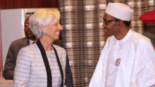 International Monetary Fund Managing Director Christine Lagarde, right, shakes hands with Nigeria's President Muhammadu Buhari, left, after their meeting at the Presidential Villa in Abuja, Nigeria, January 5. Nigeria is struggling to deal with a number of economic issues, including a fall in oil prices and the impact of Boko Haram's insurgency.