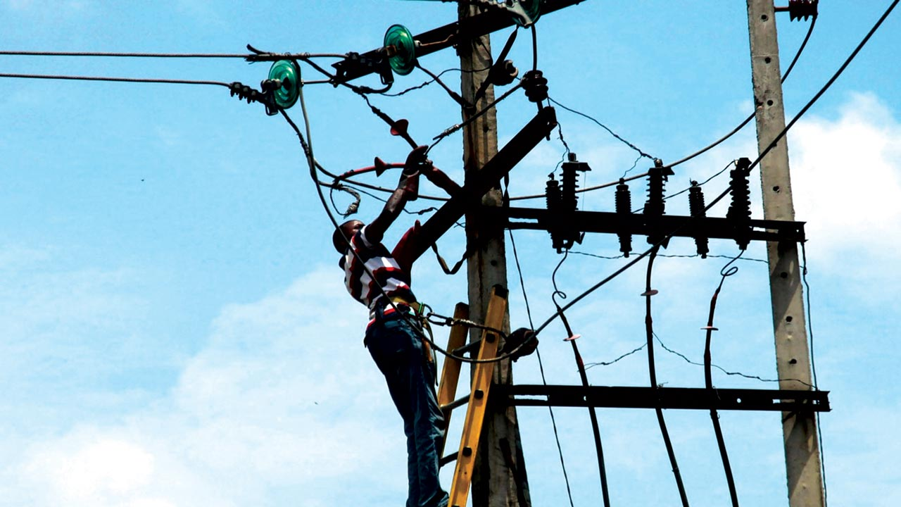 A power official fixing a troubled pole