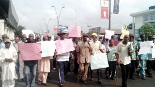 Pensioners protesting 42-month unpaid arrears