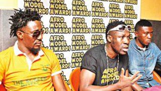 Nigeria Co-cordinator of Afro Model Award; Abimbola Jegede (Left); Chariman / Host Afro model award; James Jegede (Front and back), and Nigeria  Cordinator  Afro Model award; Afolabi Ibikunle at a press conference in Lagos.           PHOTO: AYODELE ADENIRAN