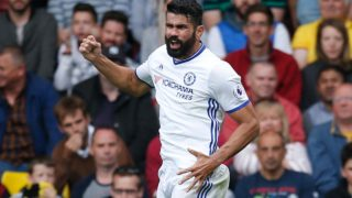 Chelsea's Brazilian-born Spanish striker Diego Costa celebrates scoring their second goal during the English Premier League football match between Watford and Chelsea at Vicarage Road Stadium in Watford, north of London on August 20, 2016. Ian Kington / AFP