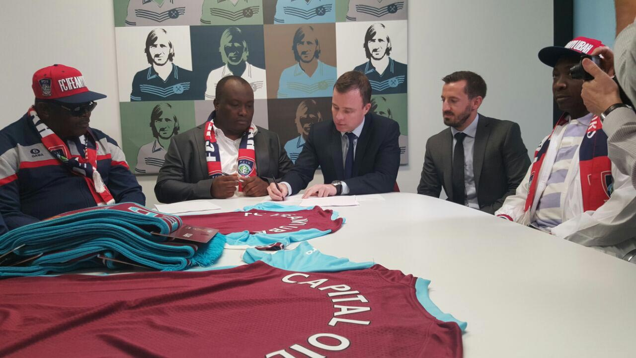 From Left to Right: Chairman, Senate committee on sports, Senator Obinna Ogba, MD/CEO Capital Oil and Gas Industries and President, FC IfeanyiUbah FC, Dr. Patrick Ifeanyi Ubah, MD WestHam United FC, Mr. Angus Kinnear, Commercial Manager, WestHam United FC Mr. Scott McCubbin, and Chairmen of Chairmen and Executive committee member, Nigerian Football Federation, Alhaji Ibrahim Gusau