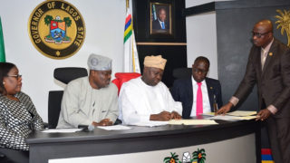Governor Akinwunmi Ambode (middle), Chief Judge, Justice Oluwafunmilayo Atilade (left) Speaker, House of Assembly, Mudashiru Obasa, Attorney General & Commissioner for Justice, Adeniji Kazeem and Special Adviser to the Governor on Civic Engagement, Kehinde Joseph (right), at the signing of the Property Protection and Neighborhood Safety Agency Laws in Lagos House, Ikeja…yesterday.