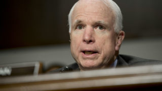(FILES) This file photo taken on February 9, 2016 shows US Senator John McCain, Republican of Arizona and chairman of the Senate Armed Services Committee, speaking during a hearing on Capitol Hill in Washington, DC. Republican Senator John McCain slammed Donald Trump on August 1, 2016 for disparaging the Muslim family of a slain American soldier, and demanded that his party's presidential candidate set an example for the country.  / AFP PHOTO / Saul LOEB
