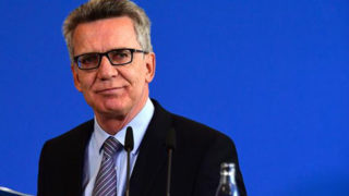 German Interior Minister Thomas de Maiziere gives a press conference in Berlin. PHOTO: AFP
