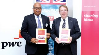 PwC Country Senior Partner, Uyi Akpata (left); and UK Trade Envoy to Nigeria, John Howell (MP), at the launch of a report titled: Seizing the Opportunity: An economic assessment of key sectors of opportunity for UK business in Nigeria held in, Lagos.