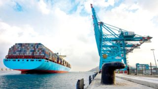 Container-laden vessel arriving the port