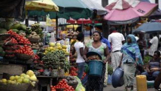 A food market in Lagos, Nigeria.