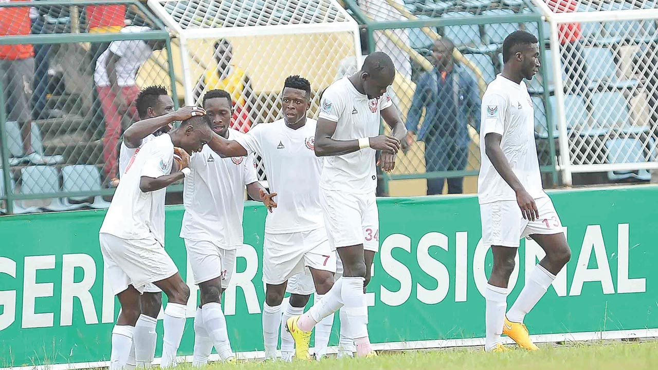 Enugu Rangers celebrating one of their goals against Ikorodu United during their 2-1 defeat of the Lagos-based club last week. Rangers are at the verge of winning the Nigerian Premier League for the first time in 32 years.