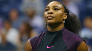 Serena Williams of the United States reacts against Karolina Pliskova of the Czech Republic during her Women's Singles Semifinal Match on Day Eleven of the 2016 US Open at the USTA Billie Jean King National Tennis Center on September 8, 2016 in the Queens borough of New York City.   PHOTO: Mike Stobe/Getty Images for USTA/AFP