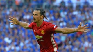 Manchester United's Swedish striker Zlatan Ibrahimovic celebrates scoring their second goal during the FA Community Shield football match between Manchester United and Leicester City at Wembley Stadium in London on August 7, 2016.  / AFP PHOTO / GLYN KIRK /