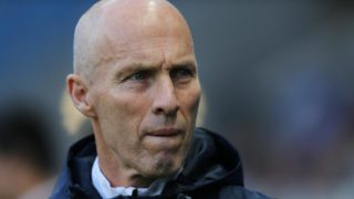 (FILES) This file photo taken on May 13, 2016 shows Le Havre's head coach Bob Bradley as he looks on during the French L2 football match between Le Havre (Havre AC) and Bourg-en-Bresse, at the Oceane stadium, in Le Havre, northwestern France. Swansea hired former United States coach Bob Bradley as their new manager on October 3, 2016, after the struggling Premier League club sacked Francesco Guidolin on his birthday. Guidolin's 61st birthday quickly turned sour as the Italian learnt he was being forced out after Saturday's 2-1 defeat against Liverpool left Swansea just above the relegation zone with only one win from their seven league matches this season. PHOTO: CHARLY TRIBALLEAU / AFP
