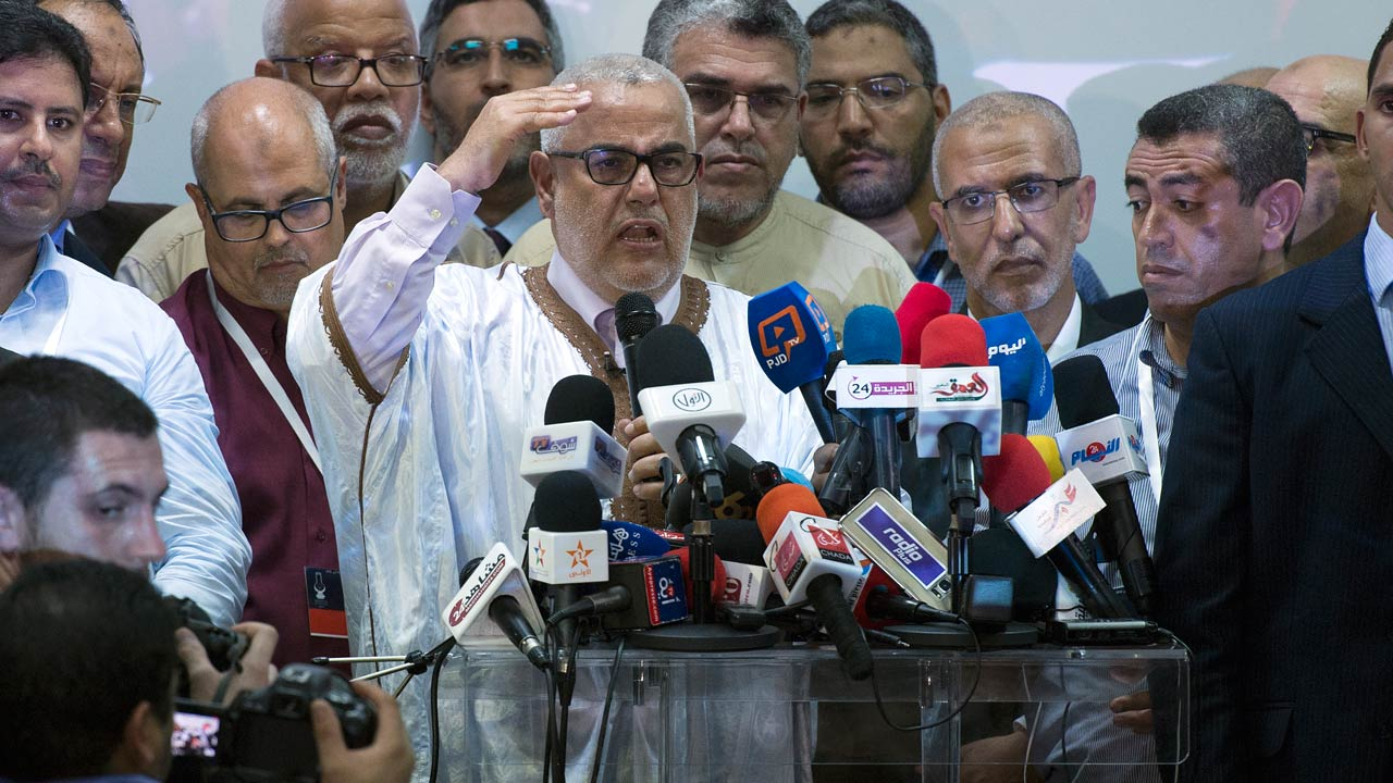 Moroccan Prime Minister and Secretary General of the ruling Islamist Justice and Development Party (PJD), Abdelilah Benkirane talks in a conference after the announcement of preliminary results of the 2016 legislative elections that put the party PJD on the top , during the country's parliamentary election in the Moroccan capital of Rabat on October 7 , 2016, PHOTO: FADEL SENNA / AFP