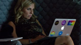 """Nicola Mendelsohn, Vice President of EMEA at Facebook, uses an Apple computer during the launch the social media company's latest product """"Workplace"""", in central London on October 10, 2016. Social network giant Facebook launched new global product Workplace, a platform that it hopes will replace intranet, mailbox and other internal communication tools used by businesses worldwide. It is intended to compete with similar office communication products including Microsoft's Yammer, Salesforce's Chatter and Slack. PHOTO: Justin TALLIS / AFP"""