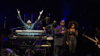 "Stevie Wonder on stage as ""Purple Rain"" plays to close out the Prince Official Tribute concert at Xcel Energy Center in St. Paul, Minnesota on October 13, 2016. PHOTO: STEPHEN MATUREN / AFP"