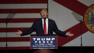 "WEST PALM BEACH, FL - OCTOBER 13: Republican presidential candidate Donald Trump speaks during a campaign rally at the South Florida Fair Expo Center on October 13, 2016 in West Palm Beach, Florida. In his remarks Trump vehemently denied recent allegations of past sexual assault and railed against mainstream media corruption and the ""Clinton machine"".   Joe Raedle/Getty Images/AFP"
