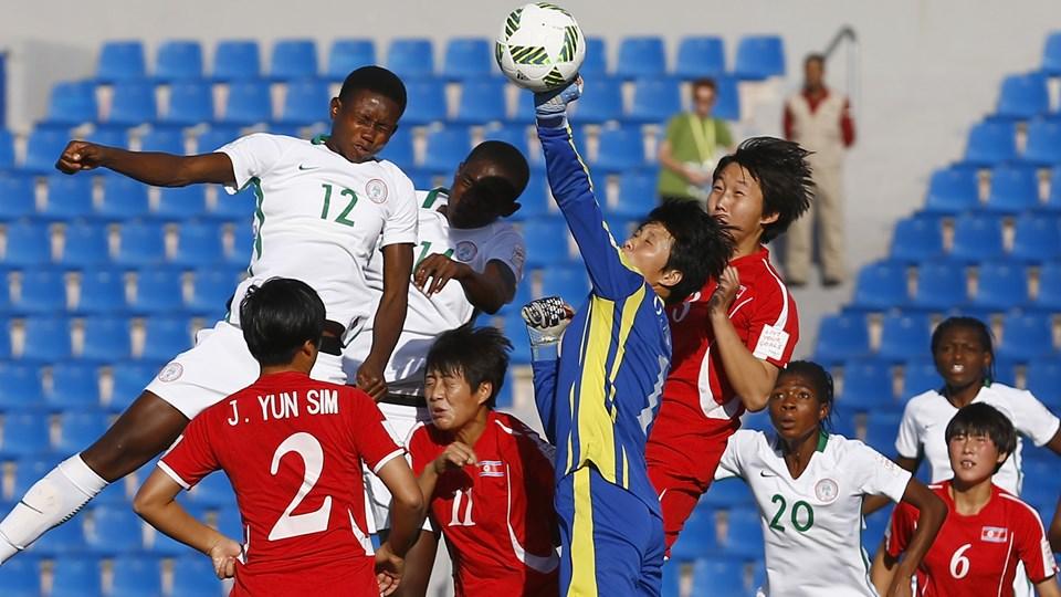 Goalkeeper Ok Kum Ju of Korea DPR seves the ball during the FIFA U-17 Women's World Cup Group C match between Korea DPR and Nigeria at Amman International Stadium on October 8, 2016 in Amman, Jordan. (Photo by Boris Streubel - FIFA/FIFA via Getty Images)