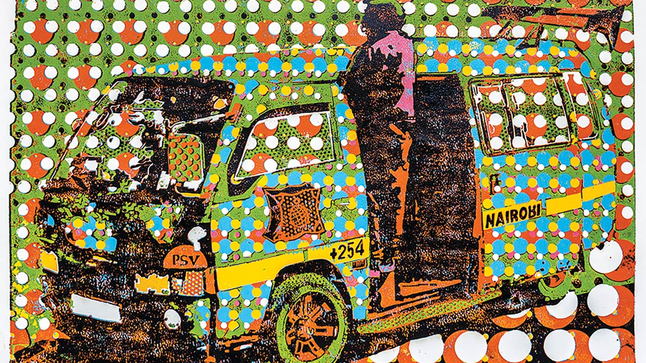 Dennis Muraguri, 'Matatu dots', 2015, Woodcut print, edition of 2, 84 x 122.5 cm, Courtesy of Circle Art Gallery