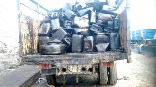 A container  loaded suspected mixed diesel