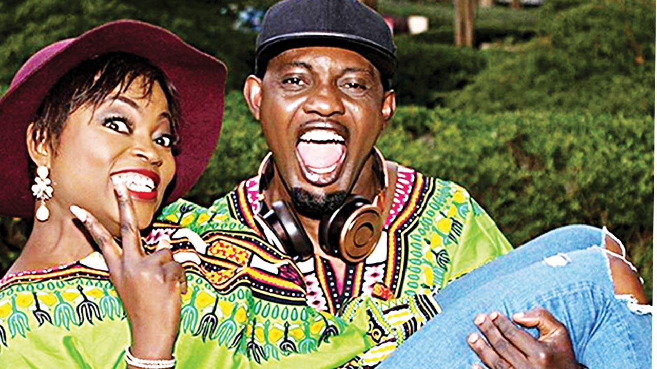 AY with Funke Akindele on set of A Trip To Jamaica