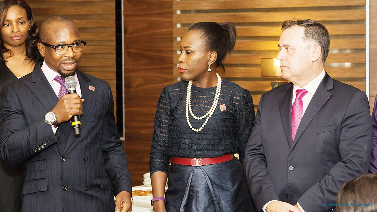 Ken Etete, CEO Century Energy (left) Tara Fela-Durotoye, CEO House of Tara, and Dr. Pascal Lorot, Founder/President, Institut Choiseul in Lagos.