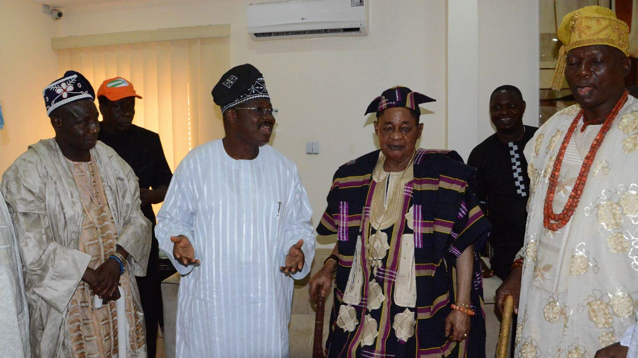 Governor Abiola Ajimobi of Oyo State and Alaafin of Oyo, Oba Lamidi Adeyemi.