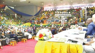 Ambode addressing participants at the town hall meeting