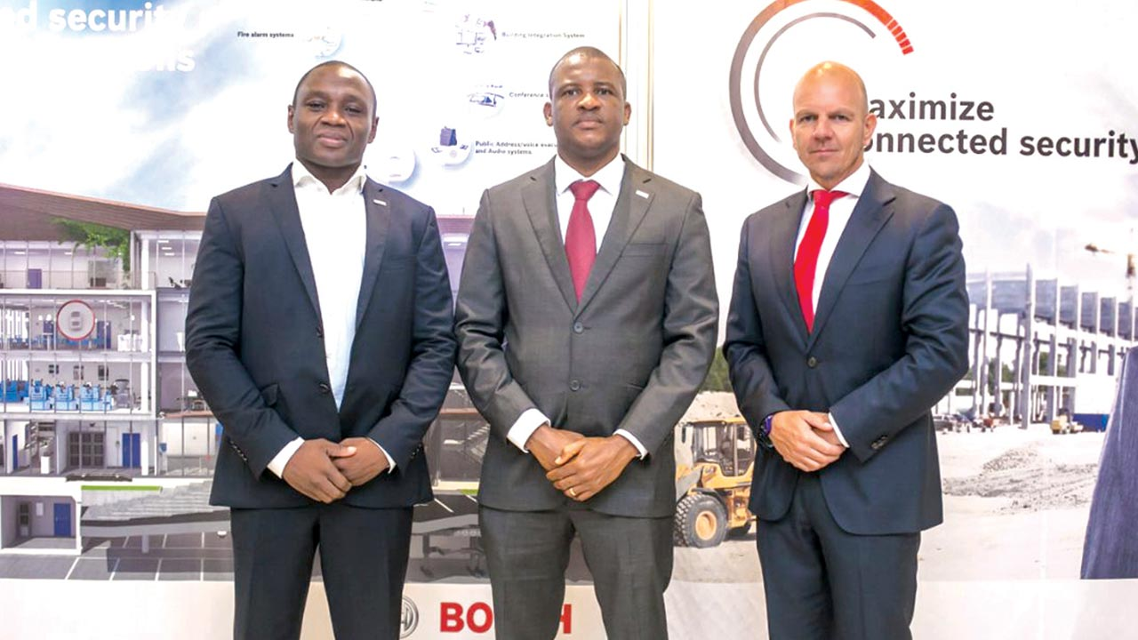 Chief Executive Officer, Robert Bosch West Africa, Ghislain Noumbessy (left);DistrictManager, West Africa at Bosch Security Systems, Paul Nwokolo and RegionalDirector North, West and Central Africa, Theo Everaers, at the Bosch Innovation & Technology Day in Lagos.