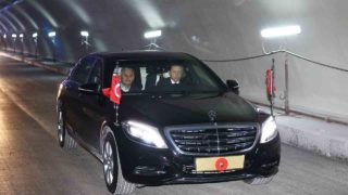 "This handout picture taken and realesed by the Turkish Presidency Press Service on October 8, 2016 in Istanbul shows Turkey's President Recep Tayyip Erdogan driving a car with Turkish Prime Minister Binali Yildirim (L) through Euroasia tunnel during a visit to the construction site for first test drives. The government's other grandiose projects for the city include the Eurasia tunnel -- a road passage underneath the Bosphorus -- expected to be inaugurated on December 20.  / AFP PHOTO / TURKISH PRESIDENCY PRESS OFFICE / YASIN BULBUL / RESTRICTED TO EDITORIAL USE - MANDATORY CREDIT ""AFP PHOTO / TURKISH PRESIDENTIAL PRESS OFFICE /YASIN BULBUL"" - NO MARKETING - NO ADVERTISING CAMPAIGNS - DISTRIBUTED AS A SERVICE TO CLIENTS"