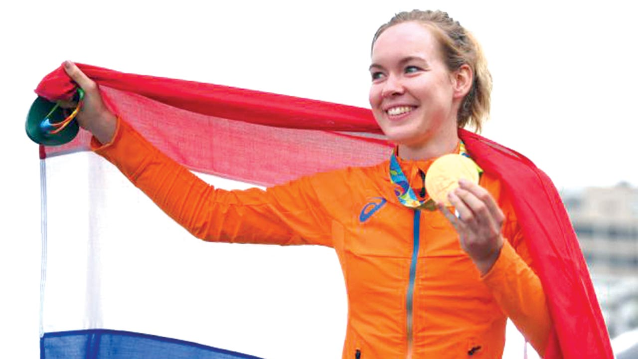 Breggen poses with Gold medal