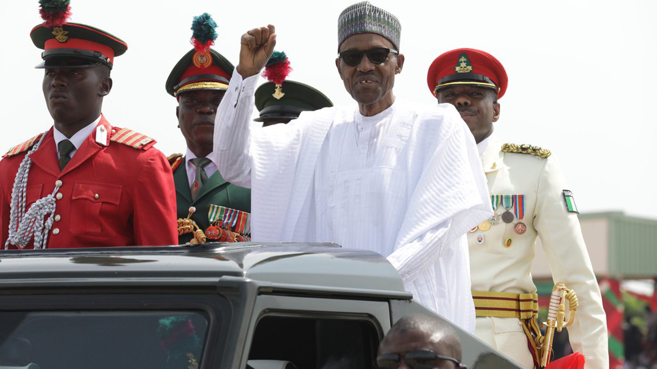 President Muhammadu Buhari at the Passing Out Parade and Commissioning Ceremony for 63 Regular Course of Nigeria Defence Academy in Kaduna on Saturday, October 8, 2016. PHOTO: Presidency Nigeria/Twitter