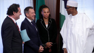 President Buhari with ICRC Reg. Director Patricia Danzi, President of ICRC Mr Peter Maurer and ICRC head of delegation Karl A. Mattli. PHOTO: TWITTER/NIGERIA PRESIDENCY