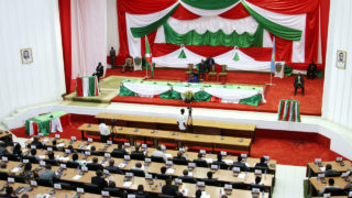 This file photo taken on July 30, 2015 shows members of  Burundi's National Assembly attending a parliament session in Bujumbura during the election of its executive members.  Burundi's lower house of parliament on October 12, 2016 overwhelmingly voted to withdraw from the International Criminal Court (ICC), after the UN began an enquiry into human rights abuses in the turbulent nation. The draft law was passed with 94 votes in favour, two against and 14 abstentions. It will next go to the Senate -- also dominated by the ruling party -- before being approved by President Pierre Nkurunziza.  / AFP PHOTO / Landry NSHIMIYE