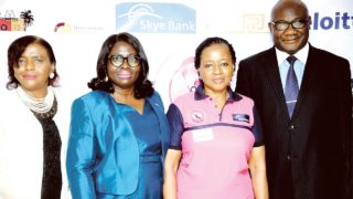 Guest speaker and consultant Oncologist at University of Nigeria Teaching Hospital (UNTH) Nsukka, Enugu Campus, Prof. Ifeoma Okoye (left); Group Head, Commercial Banking, Skye Bank, Mrs. Funmilola Oketogun; Coordinator, C.O.PE, Mrs. Ebun Anozie; and representative of the Ministry of Health, Dr. Mobolaji Oludara, at a Breast Cancer Survivors' Conference organised by C.O.PE in conjunction with Skye Bank Plc., in Lagos